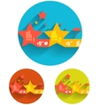 Geometric flat templates icon set vector image