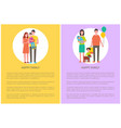 happy family posters set text vector image vector image