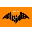 Happy Halloween Lettering in silhouette bat vector image