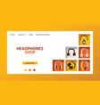 headphone headset listening to music landing web vector image vector image