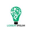 human tree and light bulb logo design vector image