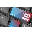 Keyboard with click me now button internet vector image