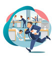 office worker late on work flat concept vector image