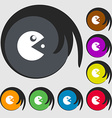 pac man icon sign Symbols on eight colored buttons vector image vector image