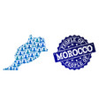 people composition of mosaic map of morocco and vector image