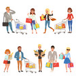 people shopping set flat cartoon characters in vector image vector image