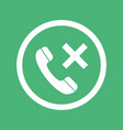 phone icon with cross sign isolated on green vector image vector image