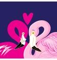 pink flamingos in love vector image