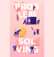 problem solving concept tiny people pushing huge vector image vector image