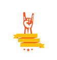rock sign hand-horn with rock gesture vector image