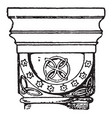 romanesque cushion capital found in the abbey vector image vector image