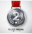 silver medal metal realistic second vector image
