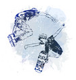 skateboarder and roller jumping on paint spot vector image vector image