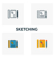 sketching icon set four elements in diferent vector image vector image