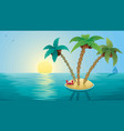 small island landscape sunrise vector image