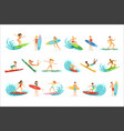 surfboarders riding on waves set surfer men vector image vector image