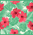 tropical flowers and palm leaves on background vector image vector image