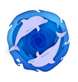 two dolphins on paper blue sea vector image
