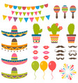 set with traditional mexican symbols for festival