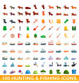 100 hunting and fishing icons set cartoon style vector image vector image