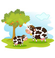 2 cows vector image