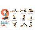 9 yoga poses for workout in shoulder concept vector image vector image