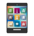 Architectural flat icons on a tablet screen vector image