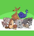 australian animals group cartoon vector image vector image