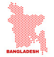 bangladesh map - mosaic of heart hearts vector image vector image