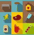 barbecue icon set flat style vector image vector image