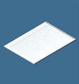 blank lined paper sheet isometric sheet from vector image vector image