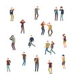 cartoon character people women and men in dust vector image