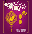 chinese new year rat or mouse with paper lanterns vector image vector image