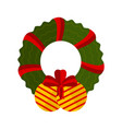 christmas ball decoration with holly wreath icon vector image vector image