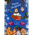 christmas holiday sketch greeting card vector image vector image