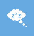cloud with zzz and bubbles on blue background vector image vector image