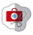 color suitcase health with stethoscope icon vector image