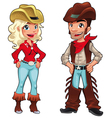 Cowboy and cowgirl vector image vector image