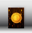 cryptocurrency web banner with 3d brochure vector image