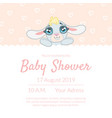 cute bashower invitation card template with vector image