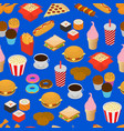 fast food seamless pattern background isometric vector image vector image