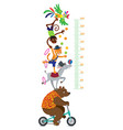 Funny circus animals meter wall or height chart vector image