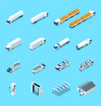 futuristic electric vehicles isometric icons vector image vector image