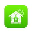 house icon digital green vector image