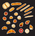 large set stickers or labels with bakery and vector image