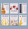 live music festival banner tempates set vector image vector image