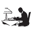 man writing or man writing on board vintage vector image vector image