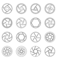 Photo diaphragm icons set outline style vector image vector image
