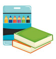 pile text books school and colors pencils box vector image vector image