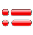 red glass buttons with chrome frame set of blank vector image vector image